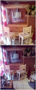 Recycled Pallet Bar and Chairs