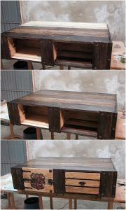 Recycled Wood Pallet Table with Drawers