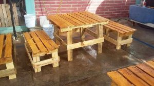 Wood Pallet Table and Bench