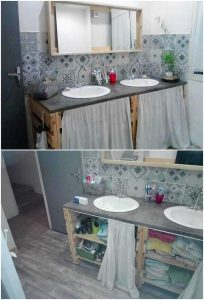 Pallet Bathroom Sink with Cabinet