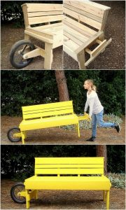 Pallet Bench with Wheel