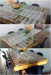 Pallet Dining Table with Glass Top