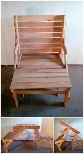 Pallet Folding Chair and Table with Benches