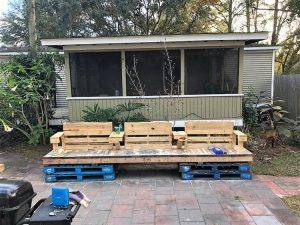 Pallet Patio Benches with Table