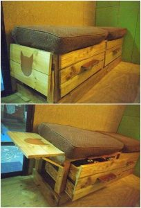 Pallet Seat with Storage Drawers
