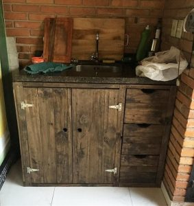Pallet Sink with Cabinet and Drawers