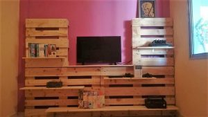 Pallet TV Stand and Wall Paneling