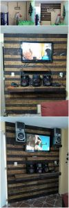 Pallet Wall Paneling with LED Holder and Media Shelf