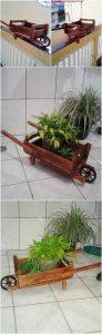 Pallet Wheel Barrow Planter