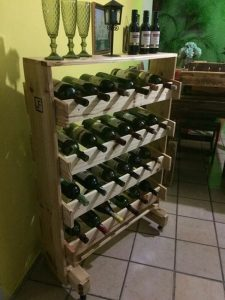 Pallet Wine Rack on Wheels