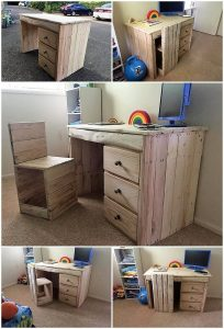 Pallet Study Table and Chair for Kids