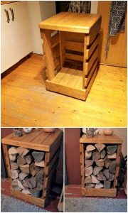Pallet Table with Wood Storage