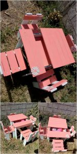 Pallet Garden Table with Storage and Chairs for Kids