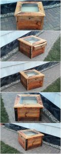 Pallet Glass Top Table with Drawer
