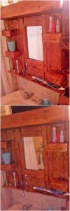 Pallet Mirror Frame with Bathroom Shelf
