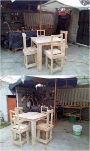 Recycled Pallet Dining Furniture Set
