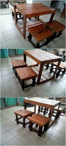 Wood Pallet Table and Stools