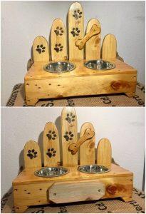 Pallet Dog Food Bowl Stand
