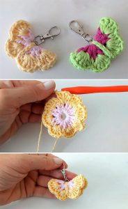 Crochet Butterfly Key Ring