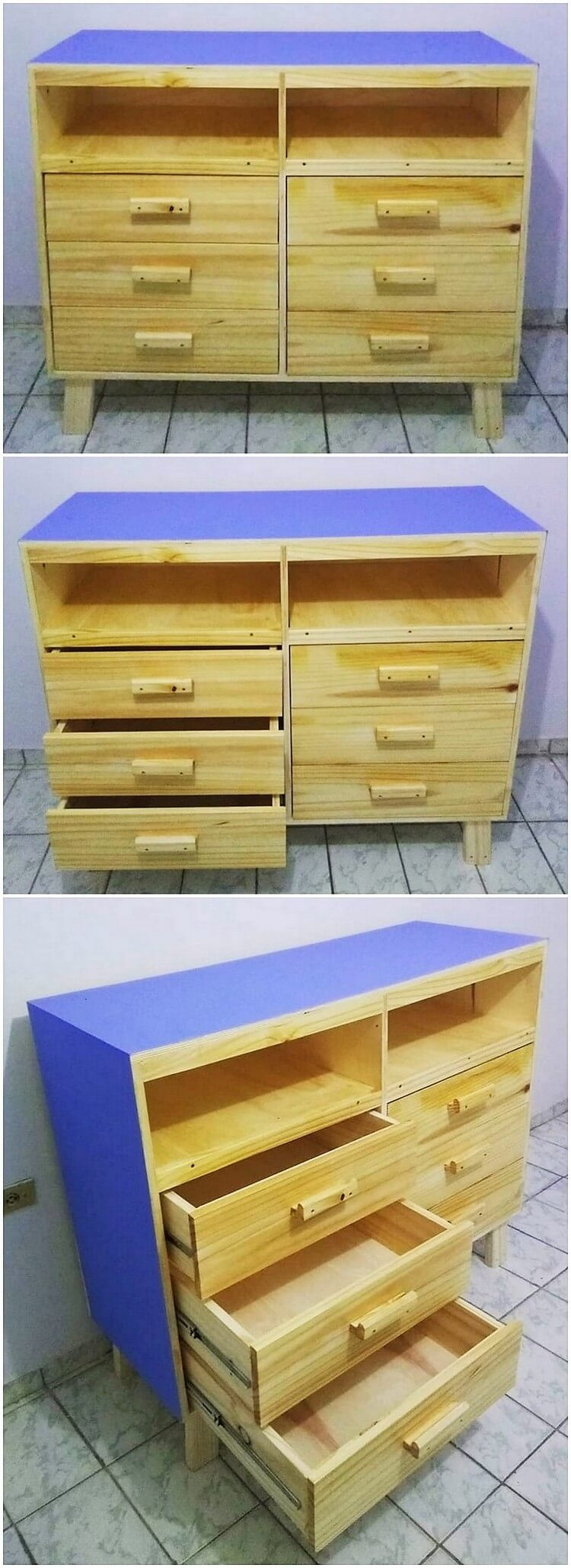 Wood Pallet Chest of Drawers