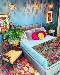 Bohemian Style Beautiful Bedroom Design (25)